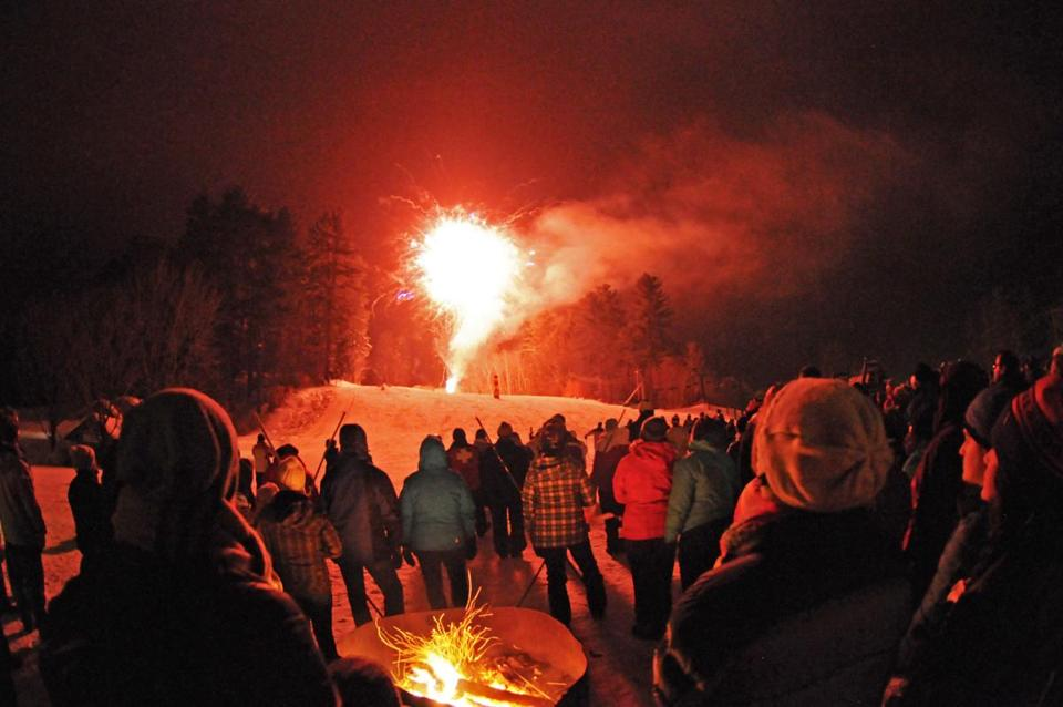 The New Year's eve fireworks at Purity Spring Resort's King Pine Ski Area Madison, New Hampshire.